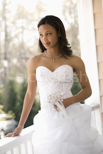 Menyasszonyi portré menyasszony dől korlát nő Stock fotó © iofoto