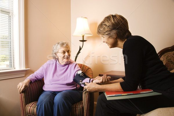 Elderly Woman Having Blood Pressure Taken Stock photo © iofoto
