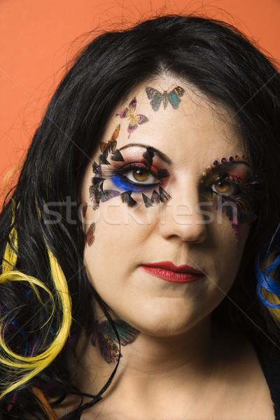 Vrouw uniek make hoofd shot Stockfoto © iofoto