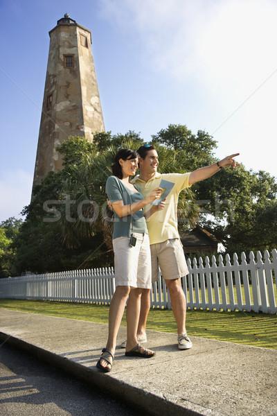 Paar sightseeing kaukasisch vuurtoren kaal hoofd Stockfoto © iofoto