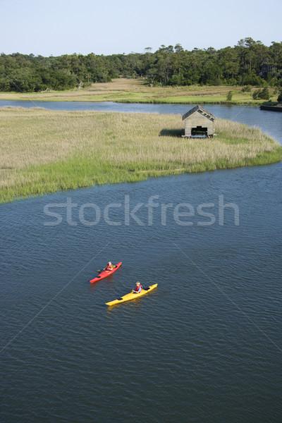 Ragazzi kayak due ragazzi adolescenti calvo Foto d'archivio © iofoto