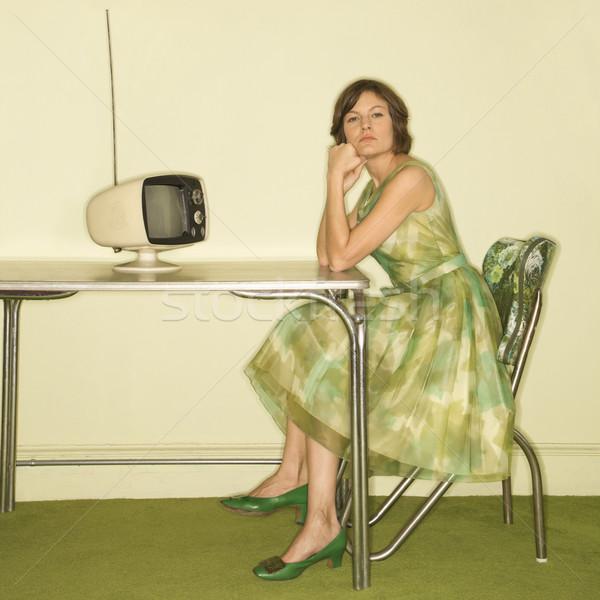 Donna retro cucina bella indossare Foto d'archivio © iofoto