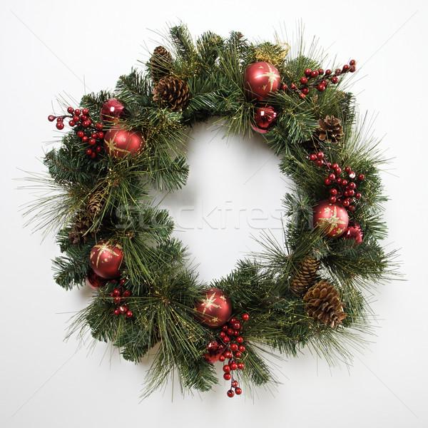 Weihnachten Kranz Tür Farbe Platz niemand Stock foto © iofoto