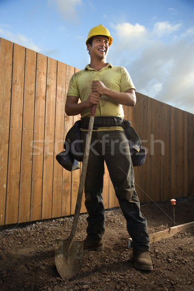 Smiling Construction Worker with a Shovel Stock photo © iofoto