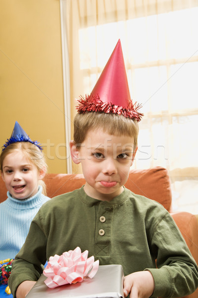 Nino caucásico fiesta sombrero mirando Foto stock © iofoto