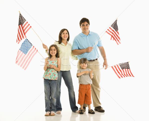 Familia americano banderas hispanos nino Foto stock © iofoto