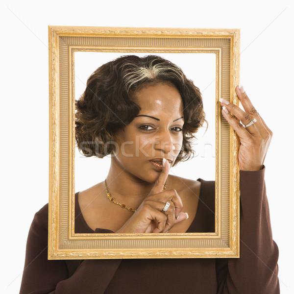 Сток-фото: женщину · кадр · вокруг · голову · пальца
