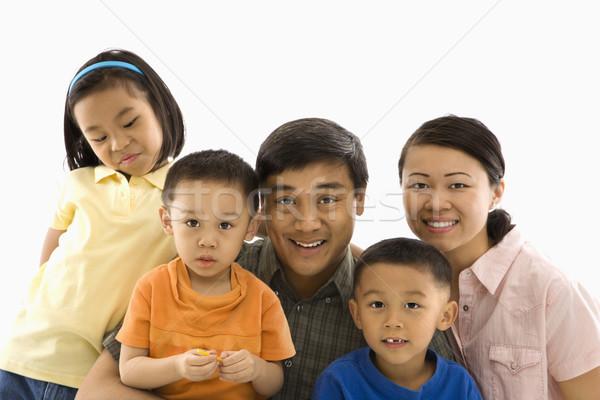 Asiático retrato de família branco crianças criança mãe Foto stock © iofoto