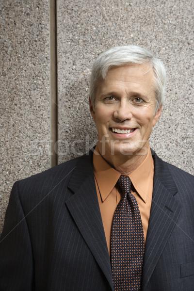 Biznesmen portret w średnim wieku uśmiechnięty uśmiech Zdjęcia stock © iofoto
