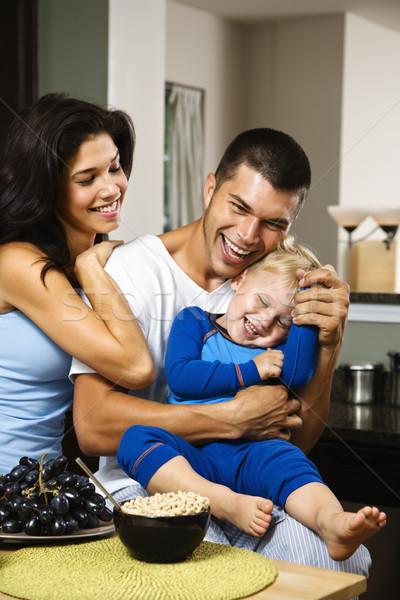 Gelukkig gezin kaukasisch familie zoon keuken Stockfoto © iofoto