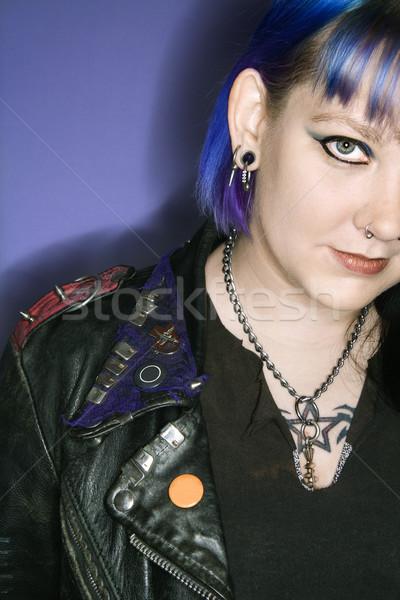 Woman in leather jacket. Stock photo © iofoto