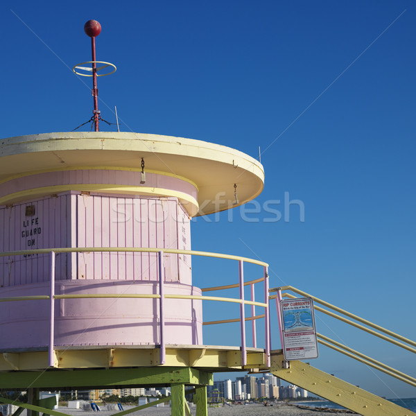 Pink lifeguard tower, Miami. Stock photo © iofoto