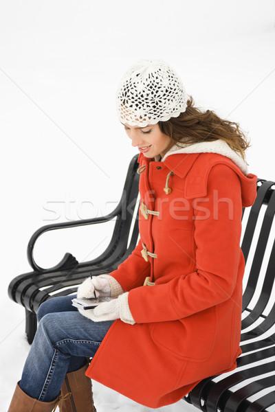 Vrouw pda kaukasisch vrouwelijke vergadering Stockfoto © iofoto