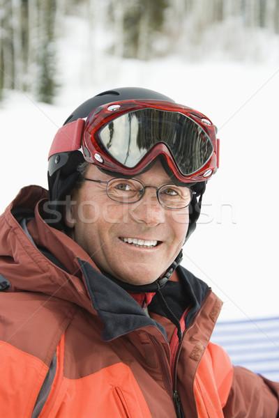 Portre gülen erkek kayakçı kırmızı Stok fotoğraf © iofoto