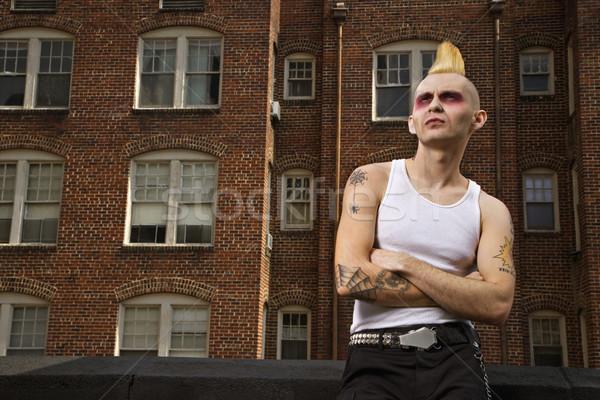 портрет панк за пределами кавказский мужчины здании Сток-фото © iofoto