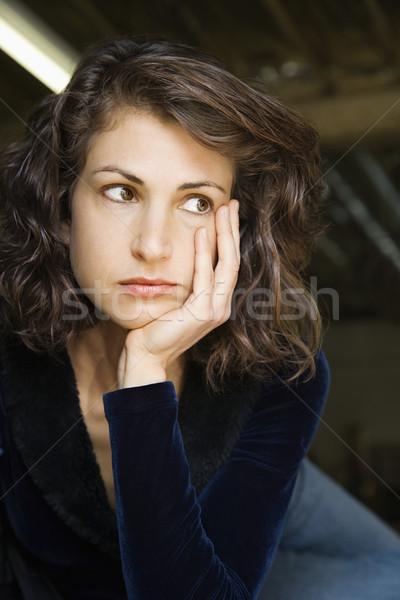 ストックフォト: 女性 · 見える · 外に · サイド · 肖像 · かなり