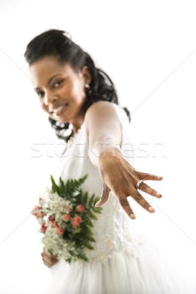 Stock fotó: Menyasszony · mutat · gyűrű · portré · nő · nők