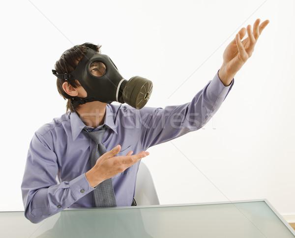 Foto stock: Homem · máscara · de · gás · empresário · sessão