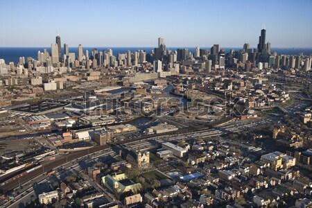 Chicago Illinois alan ufuk çizgisi binalar Stok fotoğraf © iofoto