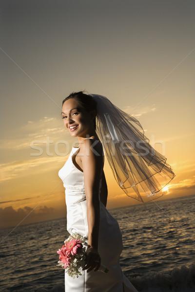 Stockfoto: Bruid · boeket · strand · vrouwelijke