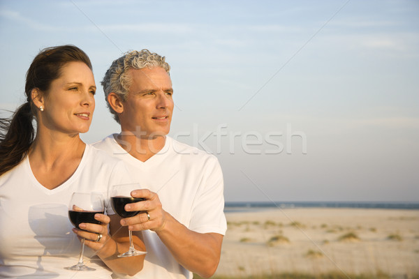 Couple Drinking Wine on Beach Stock photo © iofoto