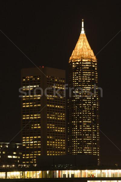 Stock fotó: Atlanta · Grúzia · sziluett · város · éjszaka · fények