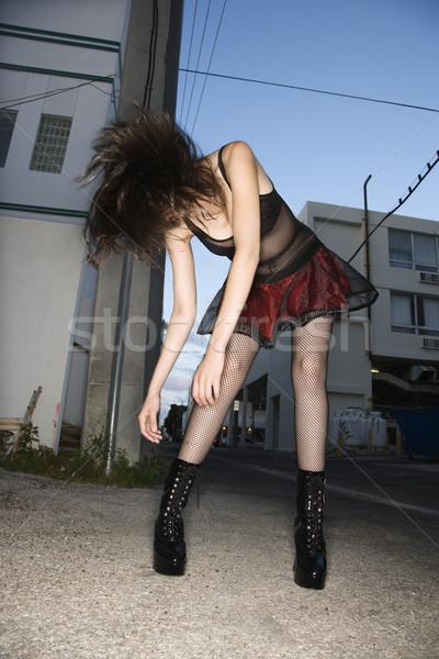 Nő haj csinos kaukázusi fiatal nő áll Stock fotó © iofoto