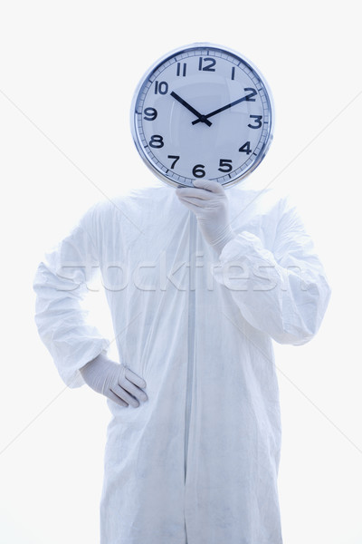 Biohazard man with clock. Stock photo © iofoto