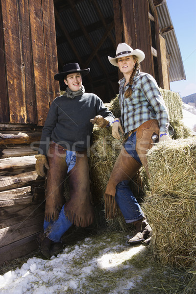 Attractive Couple In Front of Hay Bales Stock photo © iofoto