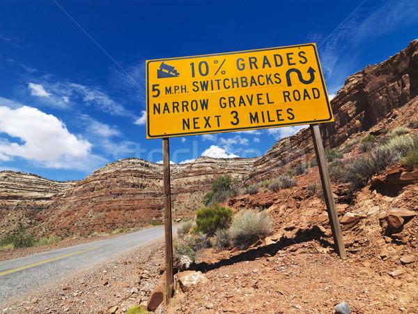 крутой дороги предупреждение дорожный знак Юта пейзаж Сток-фото © iofoto