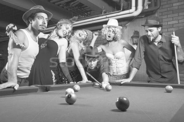 Retro group playing pool. Stock photo © iofoto