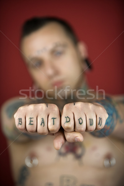 Man with tattoos. Stock photo © iofoto