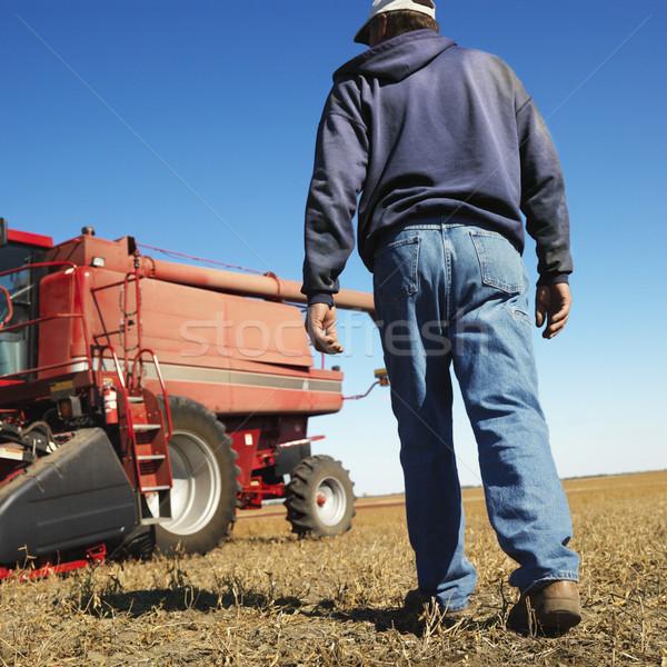 Farmer walking toward combine. Stock photo © iofoto
