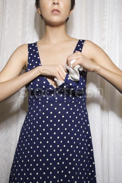 Nő töltelék melltartó csinos kaukázusi fiatal nő Stock fotó © iofoto