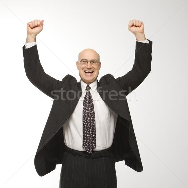 Biznesmen skoki uśmiechnięty Zdjęcia stock © iofoto