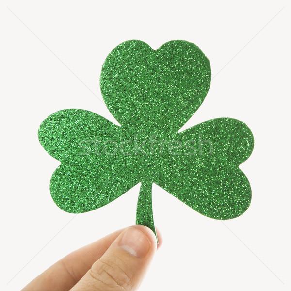 Zöld csillámlás shamrock kéz tart papír Stock fotó © iofoto