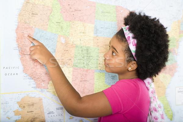 Lány USA térkép afroamerikai mutat Egyesült Államok Stock fotó © iofoto