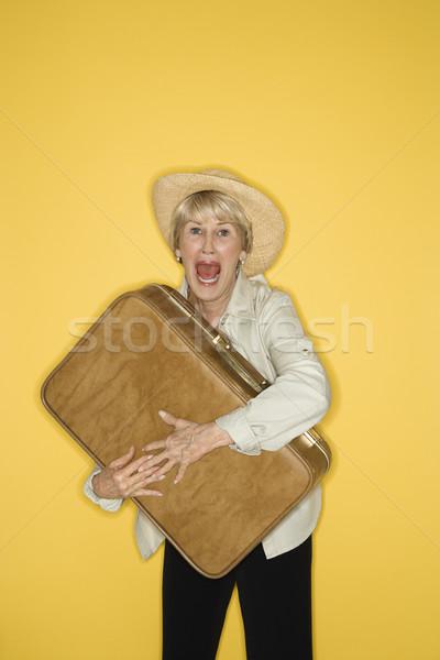 Nő bőrönd kaukázusi középkorú felnőtt női szív Stock fotó © iofoto