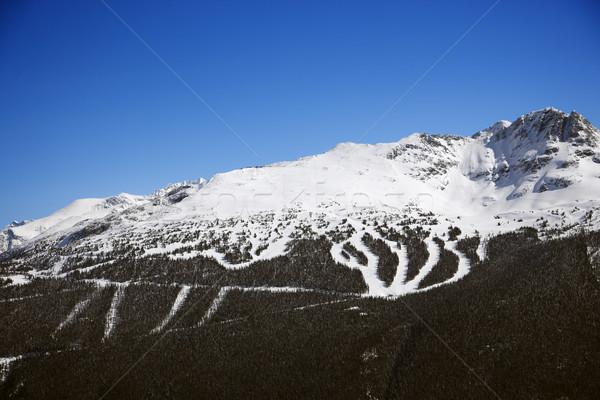 Stock photo: Ski resort trails on mountain.