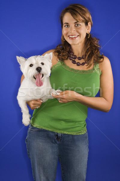 Stockfoto: Vrouw · witte · terriër · hond · kaukasisch