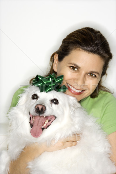 Woman holding white dog. Stock photo © iofoto