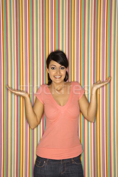 Mujer sonriente femenino caucásico mujer color Foto stock © iofoto