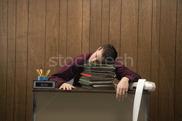 устал бизнесмен ретро сидят столе Сток-фото © iofoto
