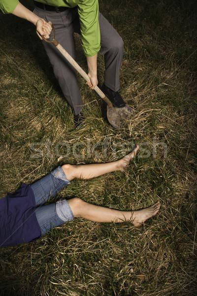 Zakenman lijk grond schop lichaam verticaal Stockfoto © iofoto
