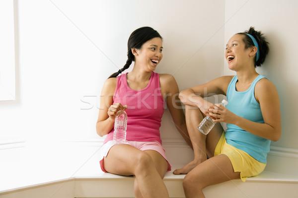 Сток-фото: фитнес · друзей · смеясь · два · одежды