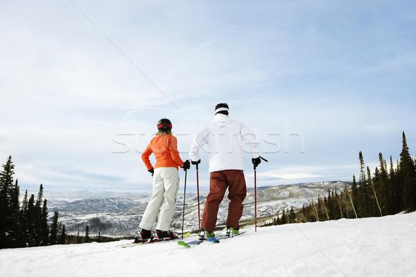 Skier Couple on Mountain Stock photo © iofoto