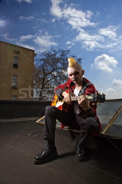Punk gry gitara portret mężczyzna Zdjęcia stock © iofoto