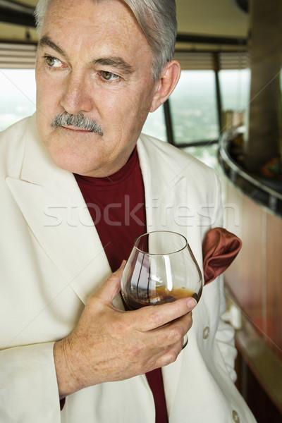 érett férfi társalgó érett kaukázusi férfi öltöny Stock fotó © iofoto