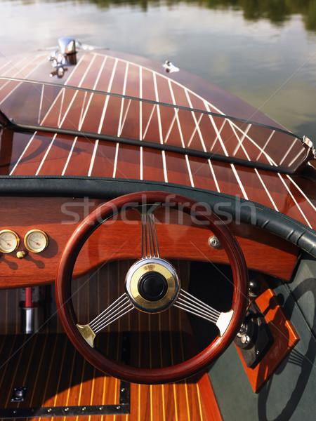 Kormánykerék csónak fából készült műszerfal lebeg gyengéd Stock fotó © iofoto