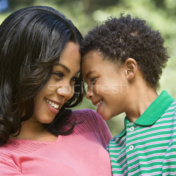 Moeder zoon portret gelukkig glimlachend jonge Stockfoto © iofoto